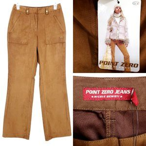 NWT POINT ZERO Faux Suede Pants High Rise Tan